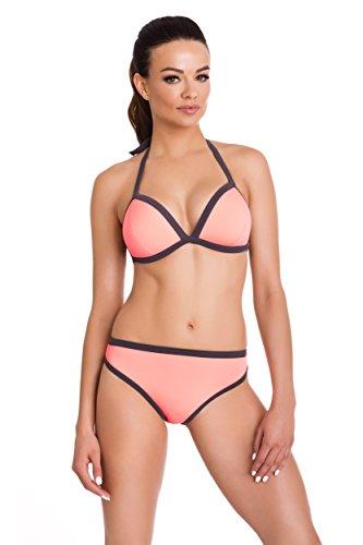 Primo© - 434 - Damen Bikini Set Badeanzug Batching Beachwear Bademode • S - XXL Größe • Neue Kollektion • Frühjahr Sommer 2017 (S, salm + grau) (Rosa Damen Kostüm Pinterest)