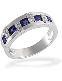 Goldmaid Damen-Ring synth. Saphir 925 Sterlingsilber 32 weiße Zirkonia