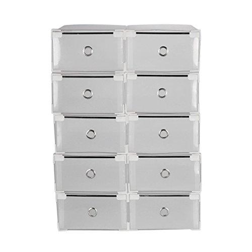 Hifeel Transparent Schuh Aufbewahrungsbox, klappbar und stapelbar Starke Schuh Lagerung Fällen mit Verdickte Schubladen, Kunststoff Schuh Boxen, 10Paar (Sneaker Box-speicher)