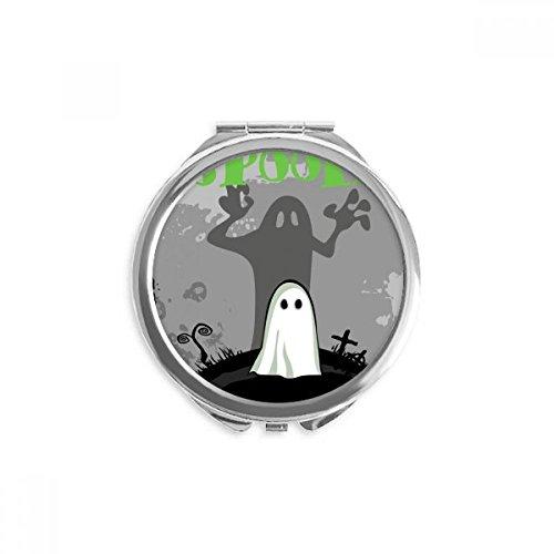 DIYthinker Temor a los fantasmas de Halloween cadáver espejo redondo portable de la mano del bolsillo del maquillaje
