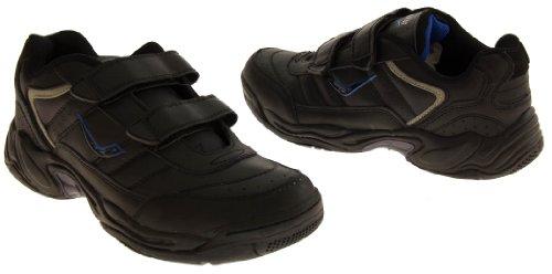 Ascot MurrayII Cuir Casual Baskets de Sport Ajustement Larges Hommes Velcro Noir