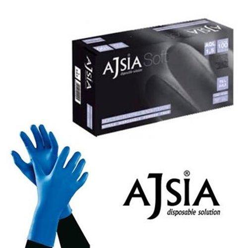 ajsia Handschuhe Nitril blau Soft medizinischem ohne Staub Packung 1000Stück (10x 100), L, 100