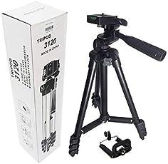 SHOPZIE 3120 Professional Universal Tripod Portable & Foldable Camera with Mobile Clip Holder Bracket (Color - Black)