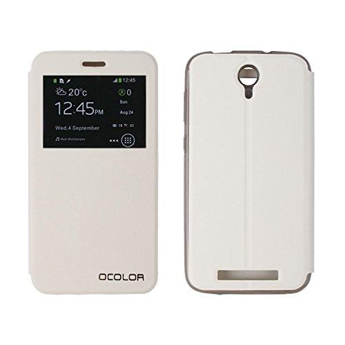 Guran® PU Leder Tasche Etui für DOOGEE Valencia2 Y100 Plus (5.5 Zoll) Smartphone Flip Cover Stand Hülle Case-weiß