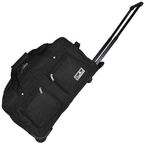 JEMIDI Reisetasche mit 2 Rollen 45L | Handgepäck Sporttasche Trolley Tasche Koffer (Schwarz)