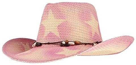 La Vogue Star Prints Straw Hat Wide Brim Fedora Hat Cowgirl Hat Pink