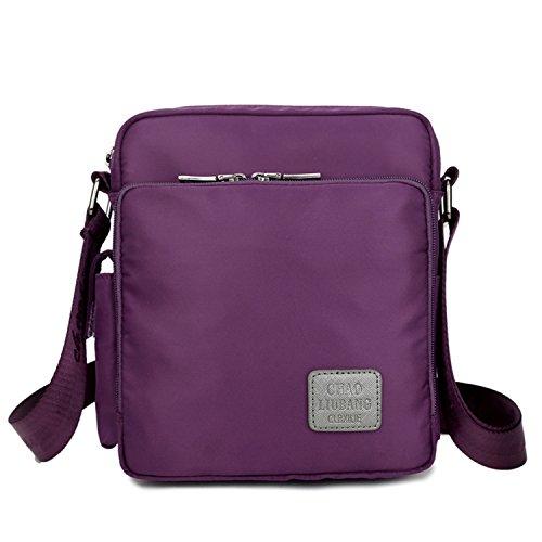 MeCooler Umhängetasche Schultertasche Retro Messenger Bag Vintage Kuriertasche Nylon Taschen Herren Handtasche Damen für Tablet kleine Sport Tasche Lila