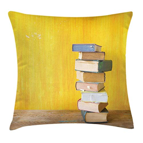 HLKPE Books Throw Pillow Cushion Cover, Cute Minimal Photo with Stack of Old Novels Front of a Yellow Toned Grungy Wall, Decorative Square Accent Pillow Case, Multicolor,24 X 24 Inches - Zip-front-lab