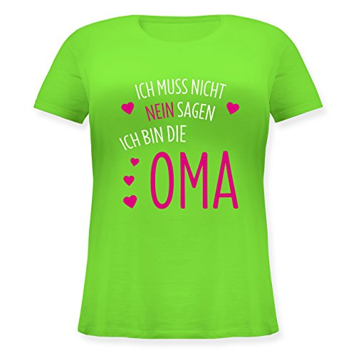 Oma - Ich muss Nicht Nein Sagen Ich Bin Die Oma - Lockeres Damen-Shirt in Großen Größen mit Rundhalsausschnitt Hellgrün