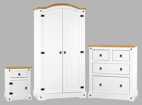 Corona White Bedroom Furniture Set - Wardrobe, Bedside & Chest - White & Distressed Waxed Pine