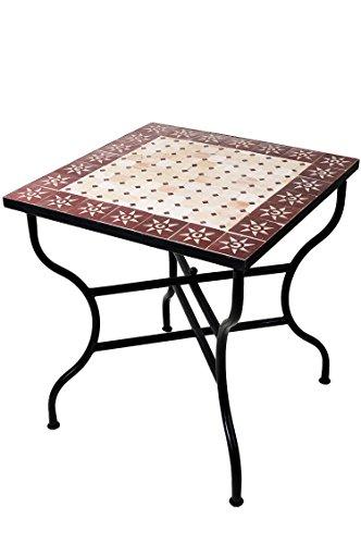 ORIGINAL Marokkanischer Mosaiktisch Gartentisch 70x70cm Groß eckig klappbar | Eckiger klappbarer...