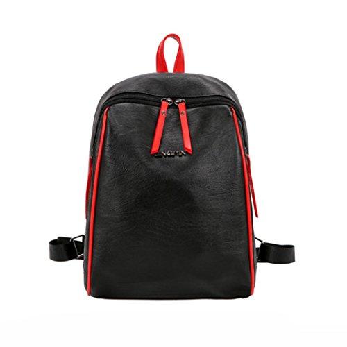 Longra Solido colore moda donne pu superiore materiale patchwork cerniera spalla borse zaino da viaggio Nero