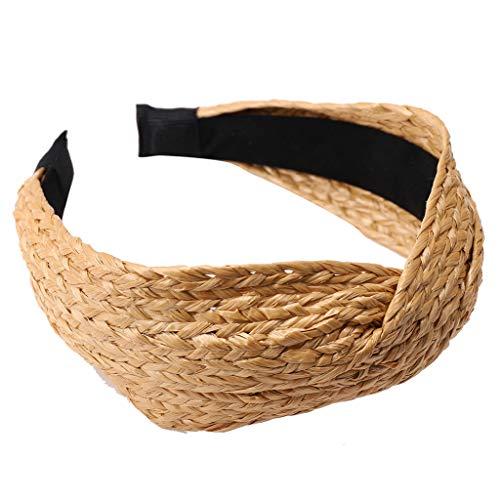 SuperSU ►▷Frauen Gras Geflochtene Design Haarreife Haarband Satin vintage Kopf Warp mit Knoten verknotetes Damen Haarband Stirnbänder im Retro Style Stirnband Haar Zubehör