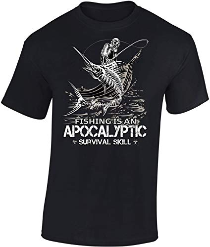 Camiseta: Apocalyptic Fishing - Pescado - Pescador - T-Shirt Hombre-s y Mujer-es - Pesca - Regalo para Pescador - Survival Outdoor Camping - Caña - Calavera - Apocalipsis (3XL)