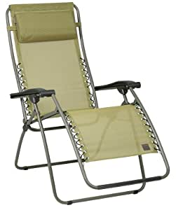 Lafuma lfm1226 5018 rsxa chaise longue beige for Chaise longue de jardin lafuma
