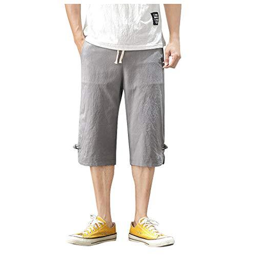 SSUPLYMY Pants Leinen Baumwolle Shorts Männer Herren Sommer Solid Beach Casual Elastische Taille Klassische Passform Hosen Kurze Hosen Lässige Baumwolle und Leinen Retro-Kurze Hose