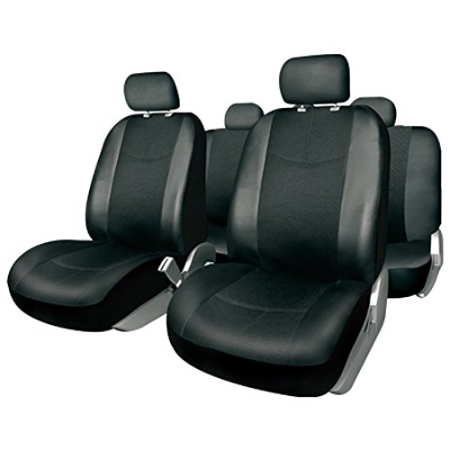 BC Corona FUK10400Sitzbezug Komplett-Set für Auto Milan, Kunstleder schwarz (Kompatibel mit Airbags/Reißverschluss hinten)