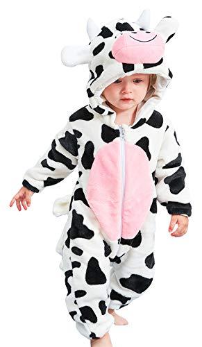 Eozy pagliaccetto neonato unisex invernale bimba tuta con cappuccio tutina fumetto outfits pigiama mucca petto 68cm