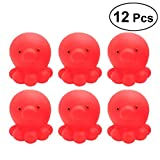 TOYMYTOY Badespielzeug Krake Figuren Wasserspiel Badespaßzeit für Baby Kleinkinder 12 Stück (Rot)
