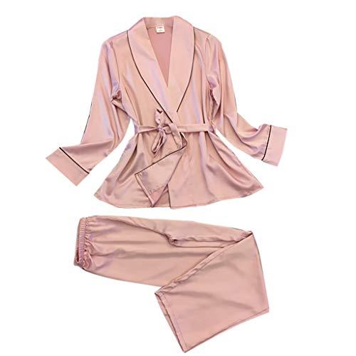Donna Pigiama Kimono Camicia da Notte con Cintura, Scollo V Elegante Corta in Raso + Set da 2 Pezzi