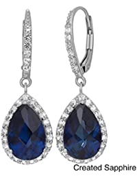 RG Jewellery-14k-White-Gold-Plated -Blue Sapphire-Cubic -Zirconia-925-Sterling-Silver-Accent-Beautifull-Dangle-Earrings