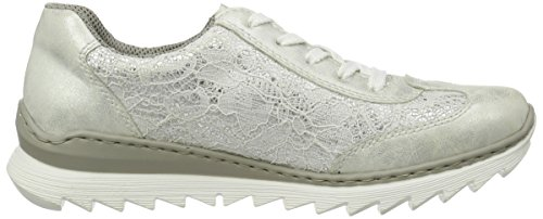 Rieker M6228, Sneakers Basses Femme Blanc (Ice/weiss-silber / 80)
