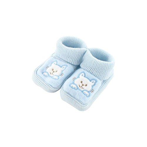 Chaussons pour bébé 0 à 3 Mois bleu - Motif Chaton