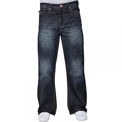 Enzo Mens Nouveau Concepteur Bootcut Denim Foncé Utilisé Look Jeans