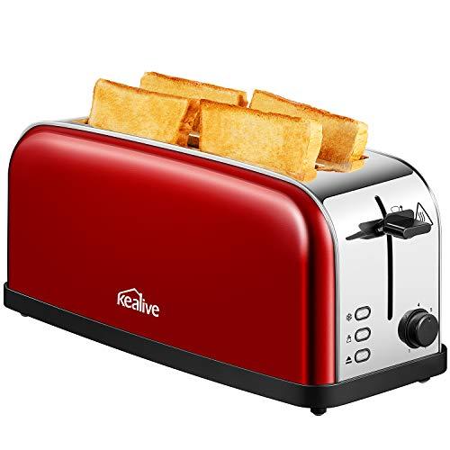 Toaster, Automatik Toaster Edelstahl mit Langschlitz, Defrost Funktion, Abnehmbarer Krümelschublade (1500 Watt, bis zu 4 Brotscheiben und 7 Bräunungsstufen), glatter Edelstahl, rote, von Kealive