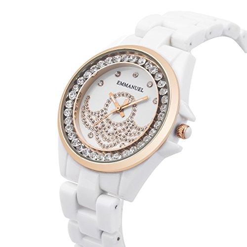 Armbanduhr Frauen Damen Mädchen Weiße Keramik Band SIBOSUN Kristall Quarzwerk Mode Analog