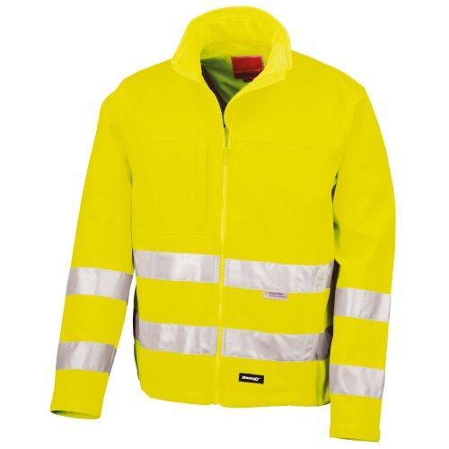 Result Core Herren Hi Vis Winter Softshell Jacke, Wasser und Wind abweisend XL,Neon Gelb (Neon Herren Winter Jacke)