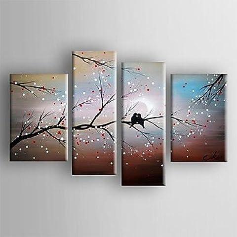 LAPS pintura al óleo del paisaje del extracto de aves en el conjunto de árbol de la lona pintada a mano con 4 estirada enmarcada