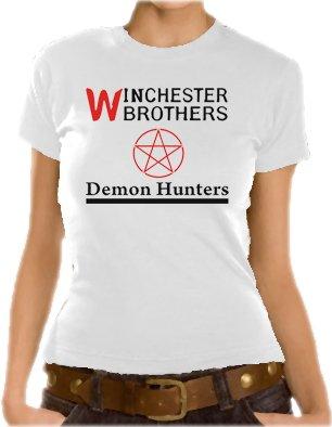 Supernatural - T-shirt da ragazza, con motivo Demon Hunters, XS-XL, diversi colori Bianco - bianco