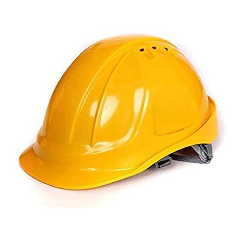 WYNZYSLBD Schutzhelm-BAU, Sicherheitsarbeitshelm, Schutzhelm Mit Kinnriemen, Industrieller Schutzhelm, Arbeitshelm-Bauarbeiterhelm Mit Belüftung (Color : Yellow)