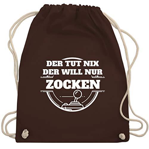 Shirtracer Sprüche - Der tut nix der will nur zocken - Unisize - Braun - turnbeutel zocken - WM110 - Turnbeutel und Stoffbeutel aus Bio-Baumwolle