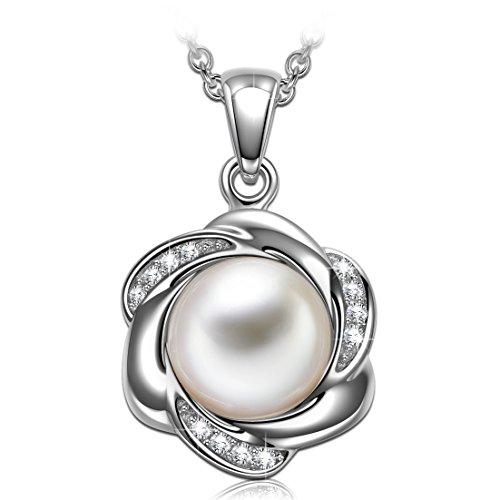 (PRINCESS NINA 925 Sterling Silber Damen Kette 5A Zirkonia mit weißer Perle von Swarovski Weihnachtsgeschenke Schmuck Geschenke zum Geburtstag Jubiläum Mutter Tochter Mädchen FrauenSie)