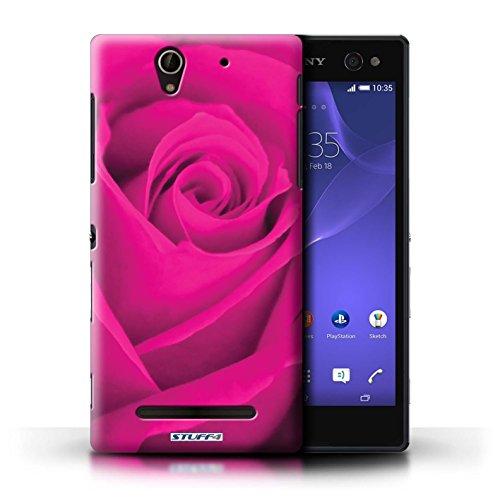 Kobalt® Imprimé Etui / Coque pour Sony Xperia C3 / Jaune conception / Série Rose Rose