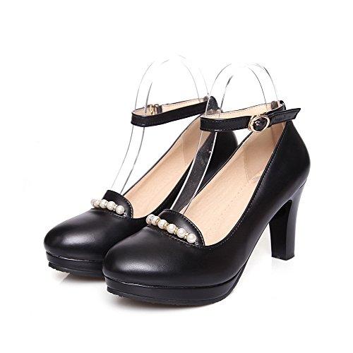 VogueZone009 Femme Boucle à Talon Haut Couleur Unie Chaussures Légeres Noir