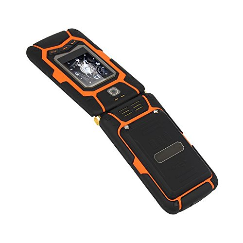 3,5 Zoll Clamshell Doppelter Touchscreen Doppelkarte Double-Standby Wasserdicht Erdbeben Staubdicht Mobiltelefon Lange Standby Draußen Alte Mannmaschine , black orange