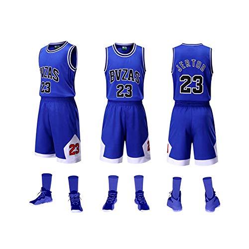 FEIF Kleine Jungen Basketball Jersey Weste Shorts Anzug Basketball Sport Anzug ärmelloses T-Shirt und Shorts Vintage,Blau,S