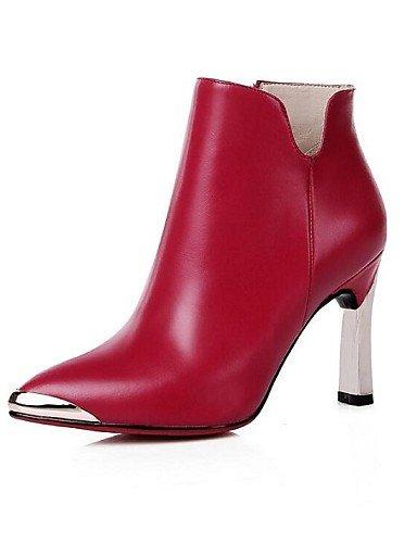 CU@EY Da donna-Stivaletti-Tempo libero-Anfibi / Stivali-A stiletto-Di pelle-Nero / Borgogna burgundy-us6 / eu36 / uk4 / cn36
