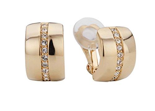 Traveller® Schmuck Ohrring Ohrclip mit Crystals from Swarovski® - 22kt vergoldet oder rhodiniert - kleine Halbcreolen 1,5x1cm (gold)