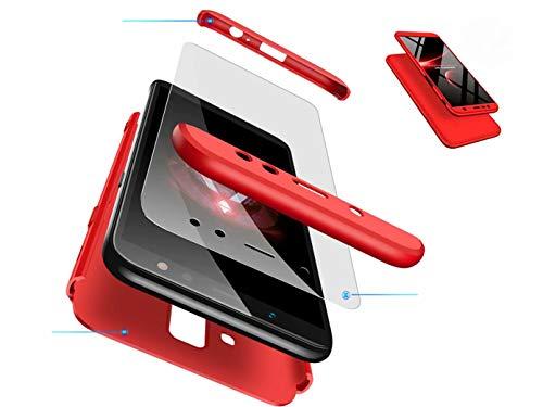 Funda One Plus 6T,DYGG Compatible con Carcasa Protección de 360 Grados Case Cover One Plus 6T Anti-Rasguño +Protector de Pantalla-Rojo