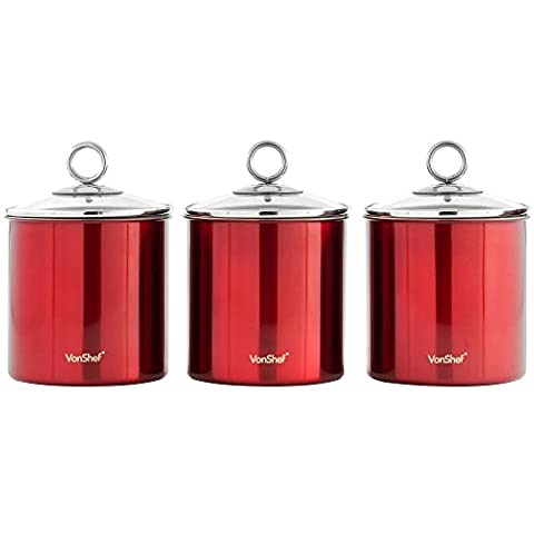 VonShef Set of 3 Tea, Coffee & Sugar Canisters/ Kitchen Storage Jars with Glass Lids - Red Stainless Steel