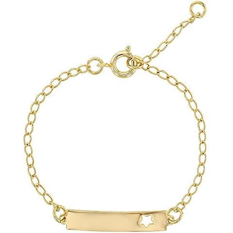 Étoile plaqué or 18 k Pendentif Bracelet pour enfant Fille-Né-réglable 6