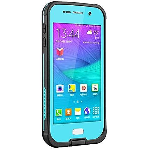 Forepin® Custodia Waterproof Impermeabile Protezione Case Cover per Samsung Galaxy S6 G9200 Redpepper Certificato Anti-urto Antis-porco Sigillatura Completa Antiurto Antisporco Protective Perfetto Shell Sleeve - blu scuro