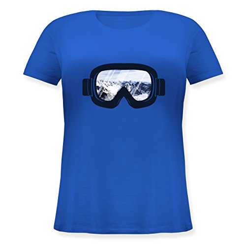 Wintersport - Ski Brille Aussicht - S (44) - Blau - JHK601 - Lockeres Damen-Shirt in großen Größen mit Rundhalsausschnitt