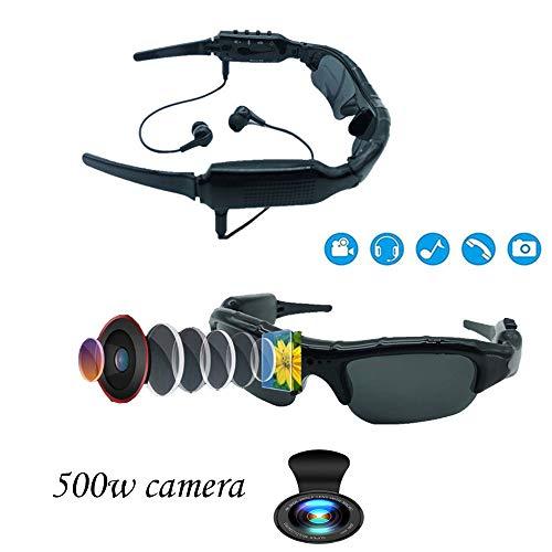 HUOFEIKE 500w Video Camera Sonnenbrille, 1080p Video Mp3 kann eingefügte Into-Tf Card Sonnenbrille, geeignet für Skifahren Outdoor-Aktivitäten (schwarz)