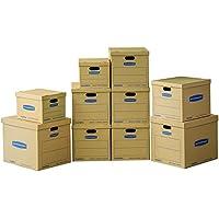 Bankers Box smoothmove Classic cajas para mudanza valor Kit, 2pequeñas/6tamaño mediano/2cajas de tamaño grande, Paquete de 10unidades, no requiere cinta (7716801)