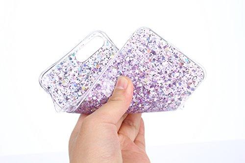 Silicone Étui Pour iPhone 7 Plus,iPhone 7 Plus Coque en TPU, Etsue Ultra Mince et Souple Premium Souple TPU Silicone Clair Transparente,Clair Coque Joli Luxe Bling Glitter Éclat Doux Protecteur Coque  Violet